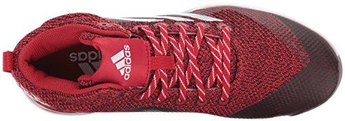 adidas Performance Herren PowerAlley 5 Mid Baseballschuh Power Rot, Silber Met., Ftwr Weiß