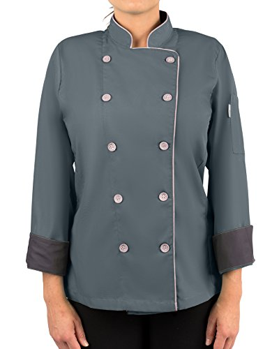 KNG Womens Long Sleeve Active Chef Coat, Slate with Pink Accent, L by KNG