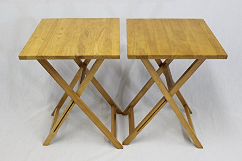 eHemco Ez Folding Tv Tray Table Square Top- Hard Wood in Pecan Set of 2 by eHemco