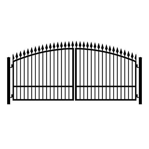 (StandardGates - Wrought Iron Driveway Gate Kit - 14 ft 0 in, Dual Swing, Single Pickets, Arched, Finials)