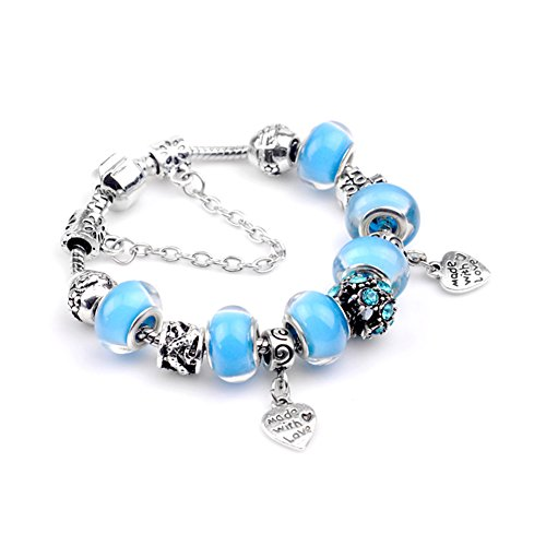 [BENNINGCO Silver Plated Snake Chain Blue Glass Bead Heart Charm Bracelet(Size,17CM)] (Diy Pageant Girl Costume)