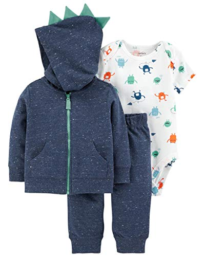 3 Piece French Terry Jacket - Carter's Baby Boys` 3-Piece Little Jacket Set (6 Months, Navy/Monsters)