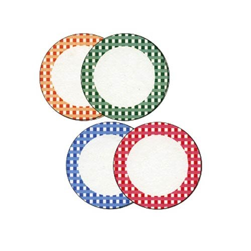 Gingham Labels - Gingham Round Labels, Widemouth, 24/pkg.