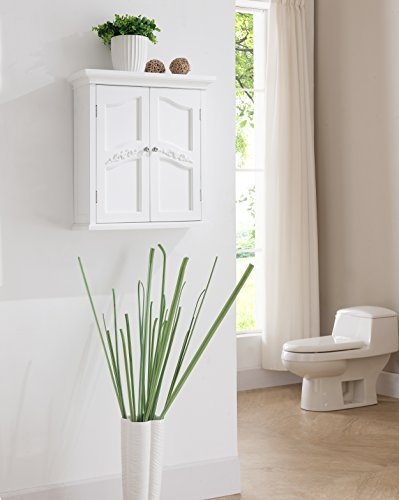 Wall Cabinet, White, Offers a Classic Look that Complements Any Bathroom, Offers Ample Storage for All of Your Items, Features 2 Interior Adjustable Shelves, Exquisite Engraving Adds an Elegant Touch ()