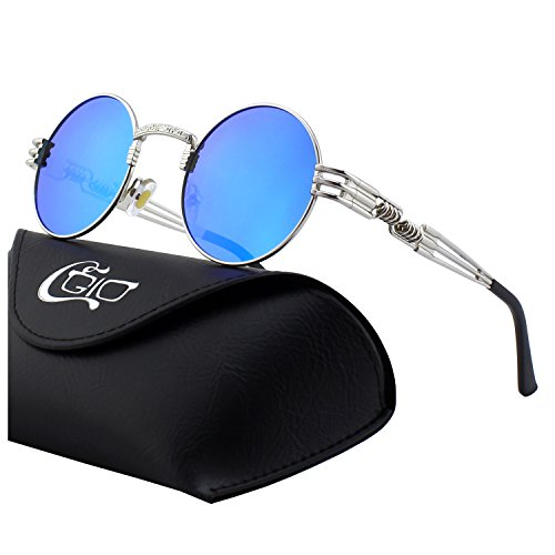 CGID E73 Retro Steampunk Style Inspired Round Metal Circle Polarized Sunglasses for Women Men