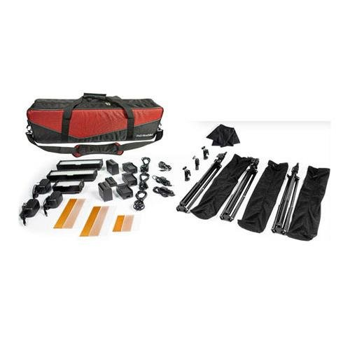 Digital Juice MiniBurst 128/256 LED 3-Point Lighting Kit with Stands & Free Deluxe Carry Bag