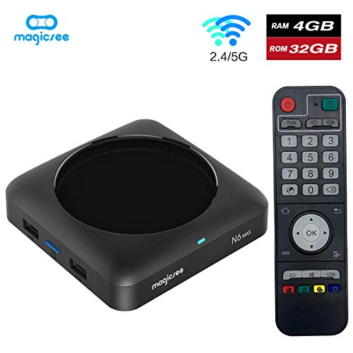 Magicsee N6 Max DDR4 RAM 32GB ROM TV Box RK3399 Android 7.1 Wireless Mini PC Smart Boxes Support 2.4G/5G WiFi BT 1080P Lan1000M