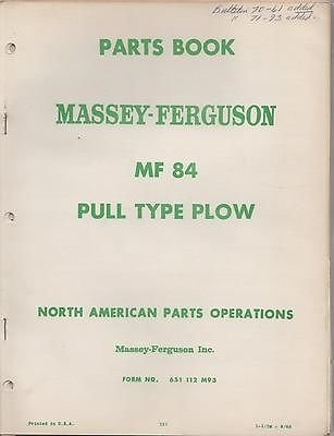 112 Pull (1968 MASSEY-FERGUSON MF 84 PULL TYPE PLOW Form 651 112 M93 PARTS MANUAL (727))