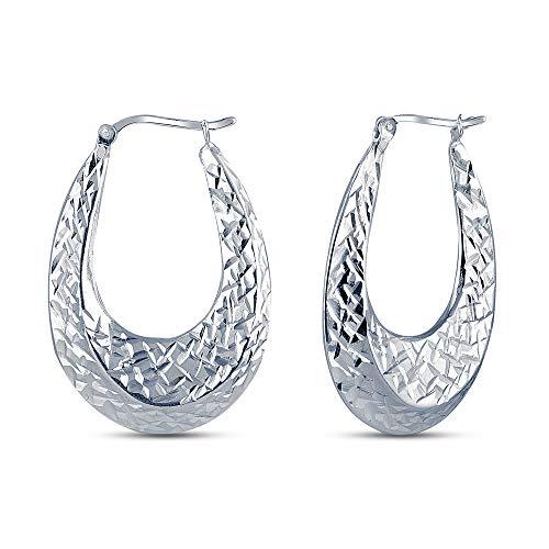 Charmsy Sterling Silver Jewelry Diamond Cut Oval Shaped Puff Hoop Earrings for Women 35MM