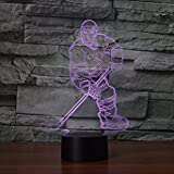 3D Hockey Night Light USB Touch Switch Decor Table Desk Optical Illusion Lamps 7 Color Changing Lights LED Table Lamp Xmas Home Love Brithday Children Kids Decor Toy Gift