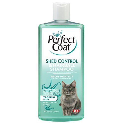 8 In 1 Pet Products CEOM637 Perfect Coat Shed and Hairball Control Cat Shampoo, 10-Ounce