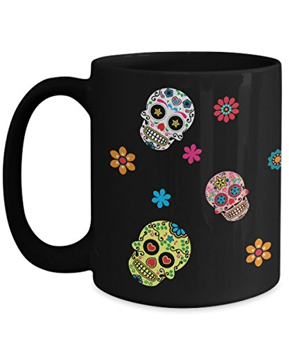 Sugar Skull Day Of The Dead Coffee Mug | Dia De Los Muertos Multicolor Design Halloween Accessory | Birthday Christmas Gift Idea Black 15oz Ceramic