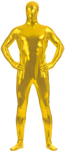 Marvoll Unisex Shiny Metallic FullBody Zentai Suit for Kids and Adults (Small, Gold) (Superman Leotard)