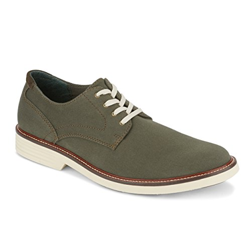Dockers Mens Parkway Stretch Casual Oxford Shoe with NeverWet, Olive, 10.5 M - Oxford Green Canvas