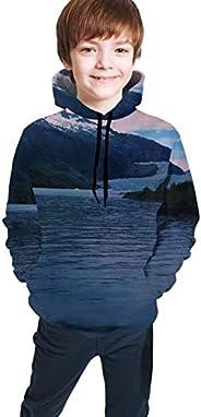 Hxjiuli Youth Hooded Sweater Iceberg View of Alaska, California (3) Spring Pocket Hoodie Sweatshirt for Boys G