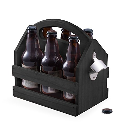 Black Solid Wooden 6 Pack Beer Bottle Holder Caddy Carrier And Bottle Opener
