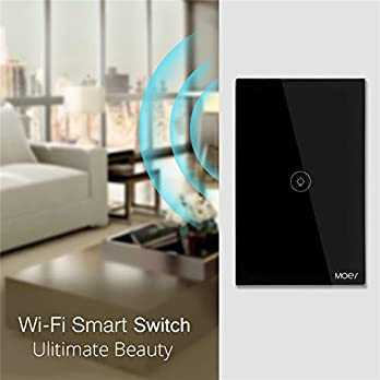 WiFi Smart Wall Touch Light Switch Glass Panel Wireless Remote Control by Mobile APP Anywhere Compatible with Alexa,Timing Function No Hub Required