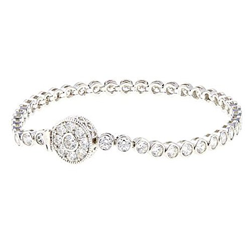 2heart 6.60 Ct Round D/VVS1 Diamond ''Silver Deco'' 14K White Gold Plated Line Bracelet by 2heart