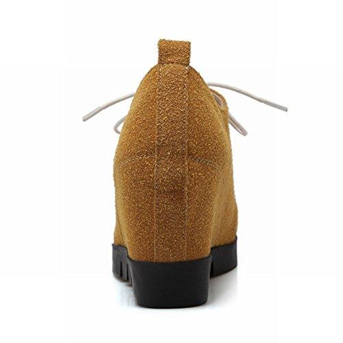 Carolbar Delle Donne Moda Popolare Carino Scarpe Con Zeppa Tacco Alto Giallo Intenso