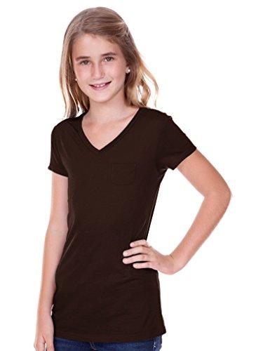 6 Sheer Jersey V Neck Penny Pocket Short Sleeve Coffee S (Sheer Kids Shirt)
