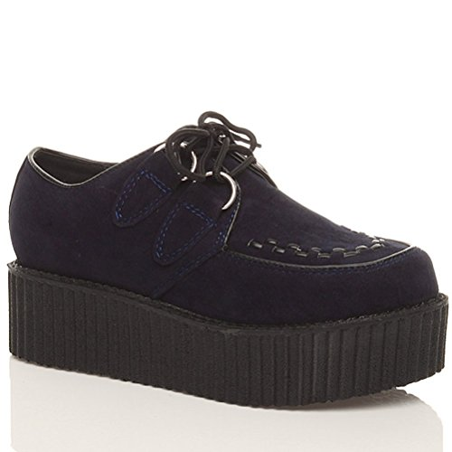 goth shoes Womens Suede Navy flat double wedge Blue boots ladies creepers platform up lace Ajvani size Uvqw8dZv