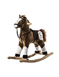 Qaba Kids Plush Toy Rocking Horse Pony with Realistic Sounds - Brown BOBEBE Online Baby Store From New York to Miami and Los Angeles