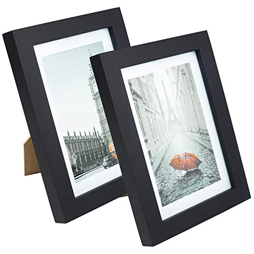XUFLY 2Pcs 5x7 Tempered Glass Wood Frame Black, with 1x Mat Fit for 4x6 inch Family Photo Picture, Desktop On Wall Vertical Horizontal Support Office Decoration Landscape (1)