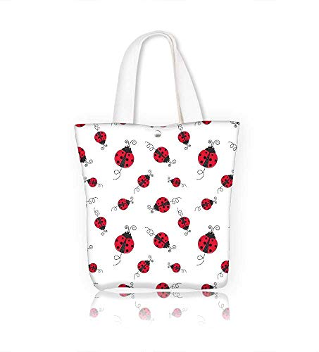 Canvas Beach Bags Seamless with ladybug Totes for Women Zippered Beach Shoulder Bag W12xH14xD4.7 INCH