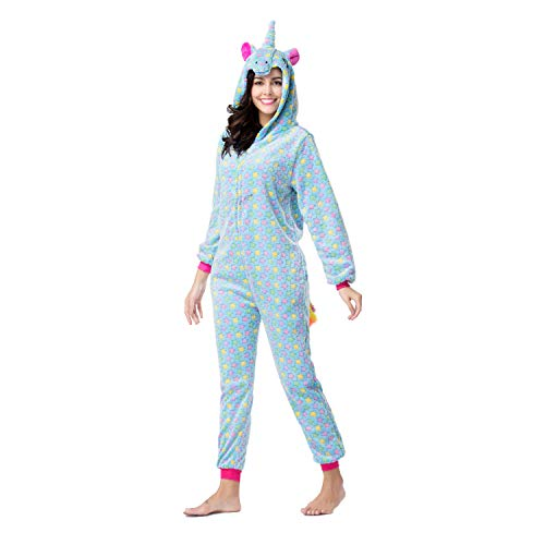 RONGTAI Adults Unisex Animal Flannel Unicorn Onesie Pajamas Cosplay Costume(XL,Blue Star -
