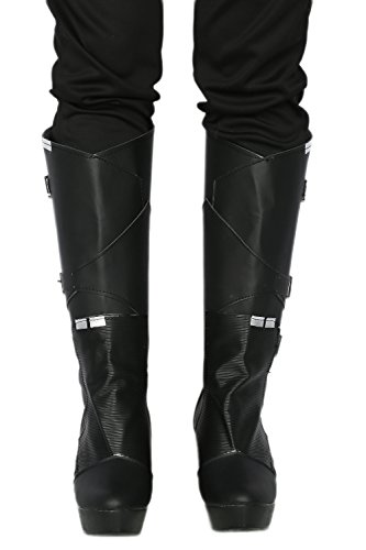 Cosplayrim Gamora Cosplay Shoes Black Wedge Mid-calf Boots With Zipper Female 39