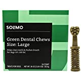 100 Pounds Dog Food - Amazon Brand - Solimo Green Dental Chews Dog Treats, Large Size, 24 Count