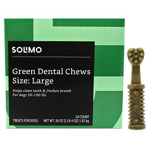 Amazon Brand – Solimo Green Dental Chews Dog Treats, Large Size, 24 Count