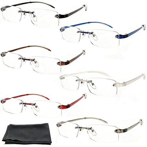 Fiore® Feather Flex New & Improved 6 Pack Clear Rimless Reading Glasses TR90 Flexible Arms Super Lightweight Readers (1.50, 6 - Rimless Flexible Glasses