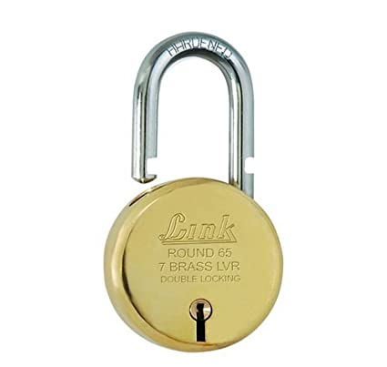 Link L65-LBPL-65 Brass Door Padlock 65 Round 3 Milled Keys (Gold)