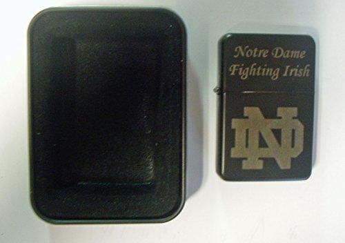 (Notre Dame logo engraved Black Plated Brass Refillable Lighter in black tin case)