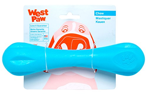 - West Paw Zogoflex Hurley Durable Dog Bone Chew Toy for Aggressive Chewers, 100% Guaranteed Tough, It Floats!, Made in USA, Large, Aqua