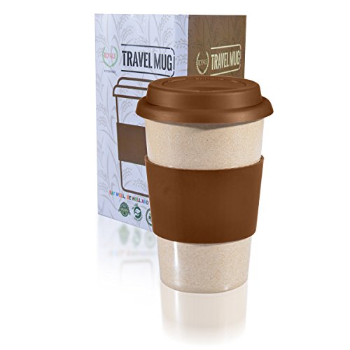 14oz Reusable To Go Chocolate Travel Mug Leak proof with Lid & Heat Resistant Non slip Grip. Made with 100% Organic Eco friendly Biodegradable Material FDA approved BPA free.