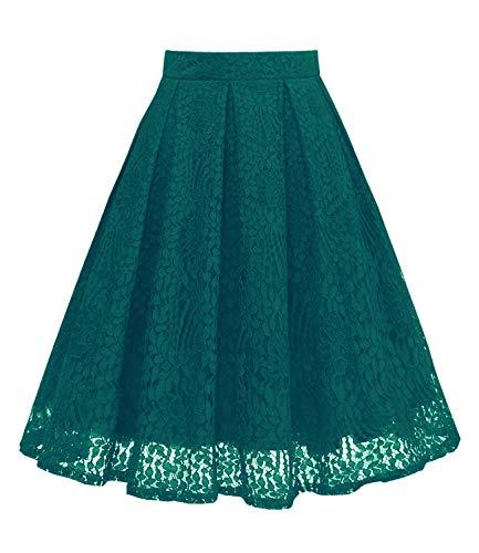Girstunm Women High Waist Pleated A-Line Knee Length Lace Pockets Skirt Black Green 3XL