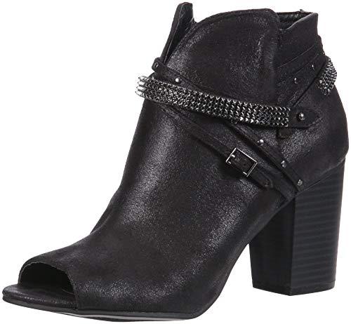 Rhinestone Block Women's Boot Ankle Black Rampage Glitz Dist Buckle Peep Meera Toe Bootie Fab Strap Heel qFnSaIw