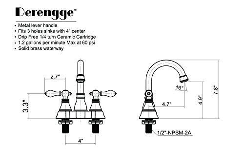 Derengge F-4501-NB Two Handle Oil Rubbed Bronze Bathroom Sink Faucet with Pop up Drain,cUPC NSF AB1953 Lead Free