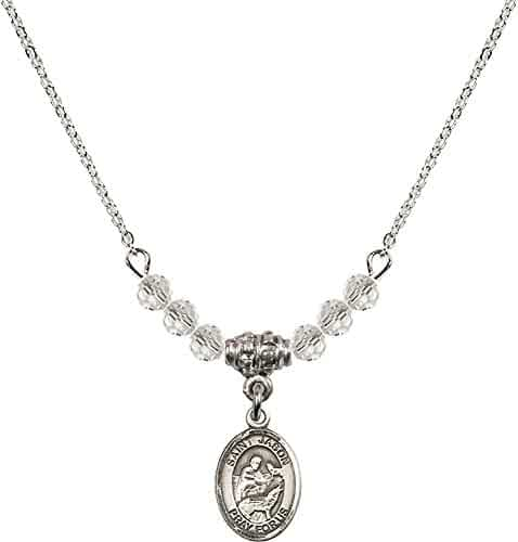 18-Inch Rhodium Plated Necklace with 6mm Emerald Birthstone Beads and Sterling Silver Saint Angela Merici Charm.