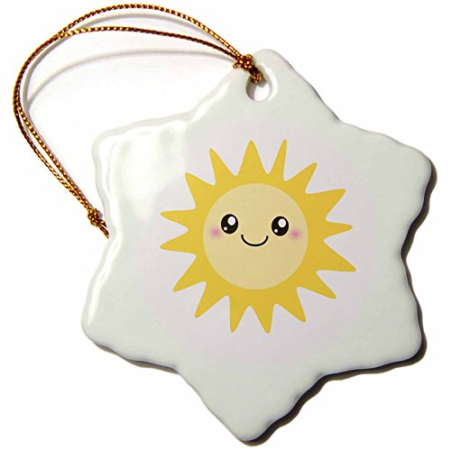 (3dRose InspirationzStore Kawaii designs - Cute happy sun - kawaii yellow sunny happy face - summer sunshine smiley on white - kids - children - 3 inch Snowflake Porcelain Ornament (orn_113062_1))