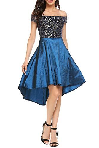 (Novia's Choice Women Retro Off Shoulder Floral Lace Cocktail Evening Party Dress Ball Gown Prom Dress(Blue M))