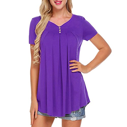 UOKNICE Women Solid Row Pleats Button Ruched O-Neck Short Sleeve Irregular T-Shirt Tops (S, ()