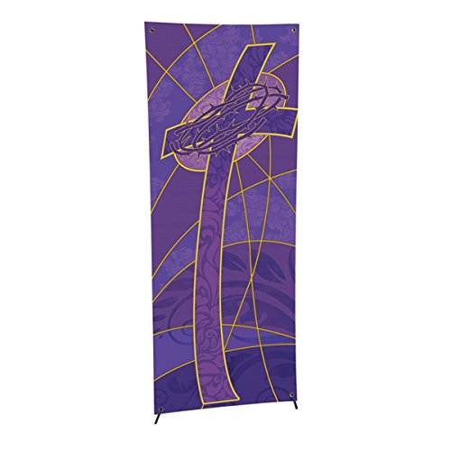 Symbols of the Liturgy Series X-Stand Church Banner for Lent / Easter - Cross and Crown of Thorns, 63 Inch