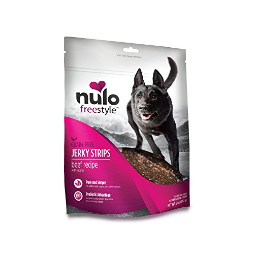 Good Beef Dogs Jerky - Nulo Puppy & Adult Freestyle Jerky Dog Strips: Natural Healthy Real Meat Grain Free Dog Treats For Training Or Reward  (Beef With Coconut Recipe - 5 Oz Bag)