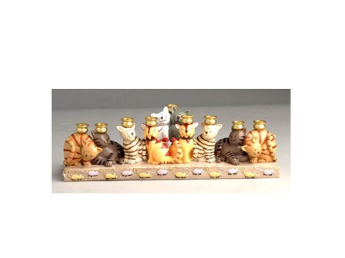 Cat Menorah (Ceramic Cat Hanukkah Menorah by Jessica Sporn by Aviv Judaica)