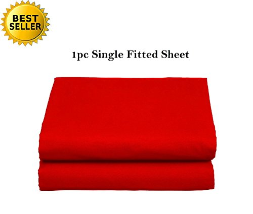 Elegant Comfort Luxury Ultra Soft Single Fitted Sheet Special Treatment Construction Deep Pocket Up To 16 Twin Red