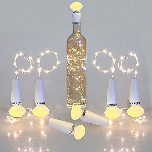 6 Stück Flaschenlichter Lichterketten mit Batterie LR44,20er Led Lichterkette auf 2 Meter Silber Draht für Leuchtende Flasche Dekoration (warmweiß)