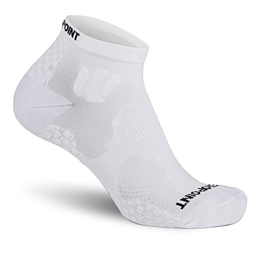 Zero Point - Compression Ankle Sock (20-30 mmHg) for Men and Women- Prevent swelling, reduce soreness and support plantar fasciitis (White, M)